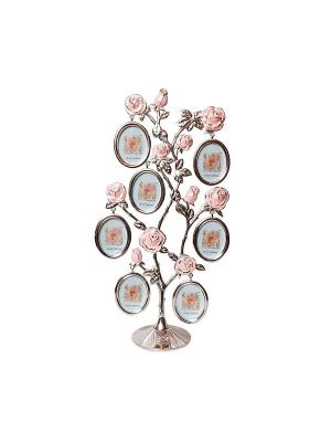Фоторамка Дерево 7 фото 4х5см PLATINUM quality. Цвет: серебристый, розовый