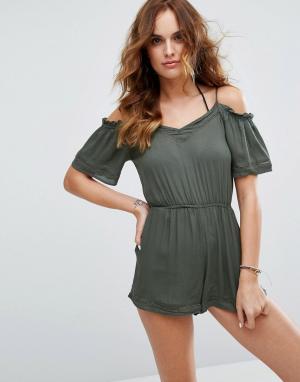 New Look Пляжный ромпер с открытыми плечами. Цвет: зеленый
