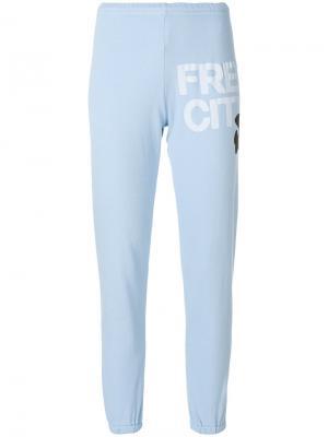 Спортивные брюки с принтом логотипа Freecity. Цвет: синий