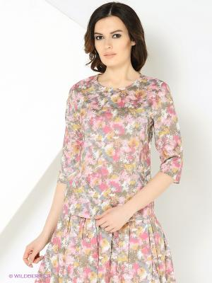 Блуза хлопковая с орнаментом розовая MONOROOM. Цвет: розовый