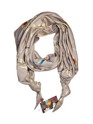 Двойной шелковистый шарф-долька с узелками; серия Апрель Оланж Ассорти. Цвет: светло-серый, бежевый, белый