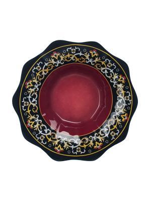 Салатник Восточный мотив 21 см Elff Ceramics. Цвет: красный, черный