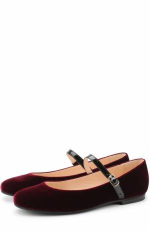 Текстильные туфли с кожаным ремешком Il Gufo. Цвет: бордовый