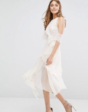 Keepsake Платье с вырезами на плечах Say You Will. Цвет: кремовый