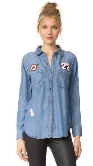 Рубашка на пуговицах с нашивками RAILS. Цвет: темно-синий винтажный