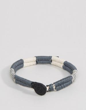 Icon Brand Серый двойной плетеный браслет. Цвет: серый