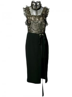 Платье мини Bonnie Frill Rebecca Vallance. Цвет: чёрный