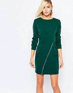 The Laden Showroom Цельнокройное платье с молнией на юбке X Meekat. Цвет: зеленый