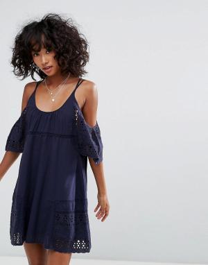 D.RA Платье с открытыми плечами Nancy. Цвет: темно-синий