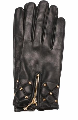 Кожаные перчатки с молниями и металлической отделкой Sermoneta Gloves. Цвет: черный