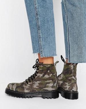 Park Lane Ботинки с камуфляжным принтом на массивной подошве. Цвет: мульти