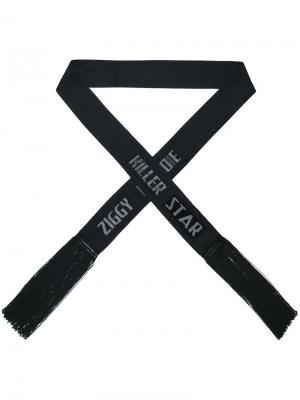 Узкий шарф с бахромой Tom Rebl. Цвет: чёрный