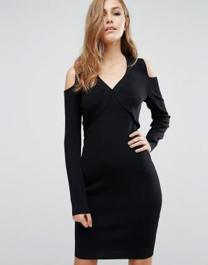 Supertrash Облегающее платье с вырезами на плечах Damara. Цвет: черный