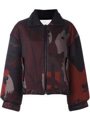 Куртка на молнии с абстрактным принтом Quetsche. Цвет: чёрный