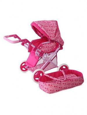 Коляска игрушечная bertoni + port Bebe. Цвет: розовый