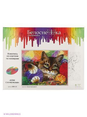 Наборы для живописи на картоне 30Х40 см. Котик с клубочками Белоснежка. Цвет: белый