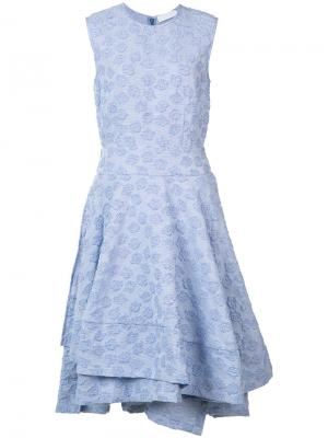 Расклешенное платье с вышивкой Co. Цвет: синий