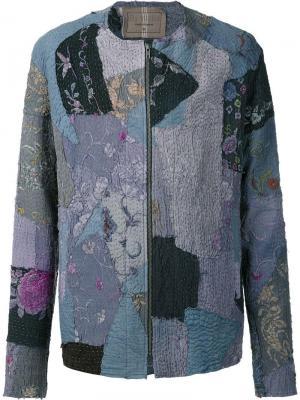 Куртка без воротника на молнии By Walid. Цвет: синий