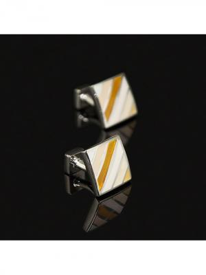 Запонки классические с полоской Churchill accessories. Цвет: серебристый