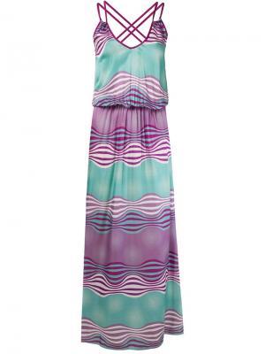 Длинное платье без рукавов Brigitte. Цвет: розовый и фиолетовый