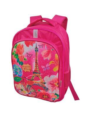 Портфель ученический Stelz. Цвет: зеленый, желтый, розовый
