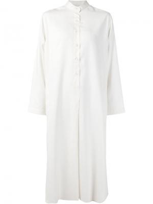 Платье-рубашка с воротником-мандарин Liwan. Цвет: белый