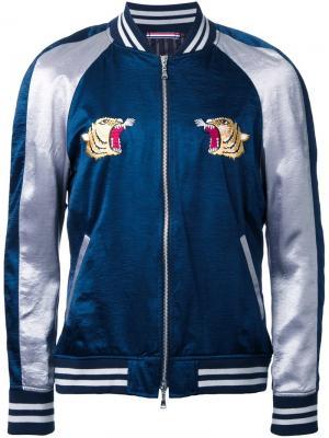 Куртка-бомбер с вышивкой Guild Prime. Цвет: синий