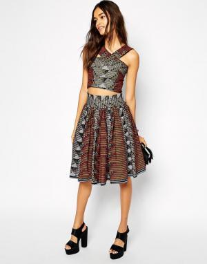 Sika Широкая юбка с геометрическим принтом X ASOS. Цвет: матричный принт