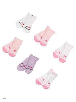 Носки детские, комплект 6 шт DAG. Цвет: серый, сиреневый, розовый, белый
