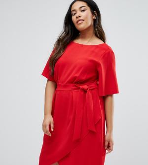 Closet Plus Платье с запахом спереди. Цвет: красный