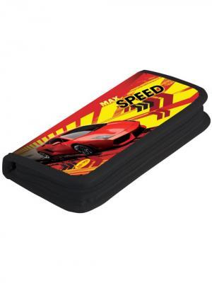 Пенал 1 отделение узкий Max Speed с наполнением Limpopo. Цвет: черный, желтый, красный