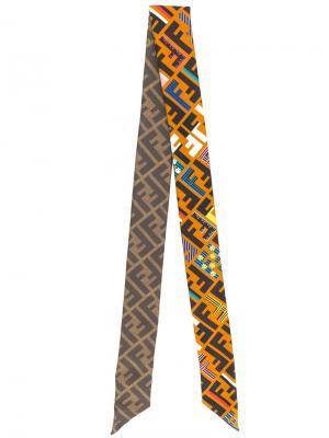 Платок с принтом логотипа Fendi. Цвет: коричневый