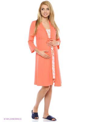 Комплект для беременных и кормящих (халат-пеньюар + сорочка) Hunny Mammy. Цвет: коралловый