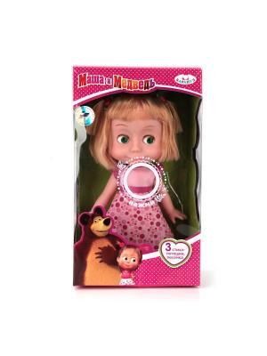 Кукла Карапуз Маша и медведь 25 см, озвученная, в платье из серии День рожденья.. Цвет: розовый,бордовый