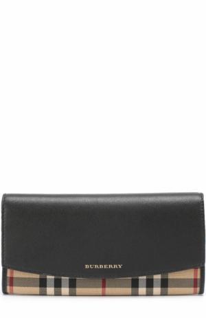 Бумажник из кожи и текстиля в клетку House Check Burberry. Цвет: черный