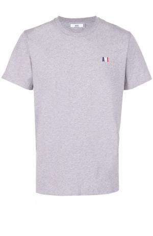 Хлопковая футболка с круглым вырезом Ami. Цвет: серый