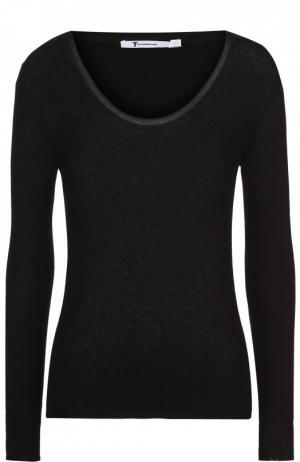 Облегающий пуловер с круглым вырезом T by Alexander Wang. Цвет: черный