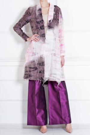 Пальто из льна и шелка Rodarte. Цвет: розовый, коричневый
