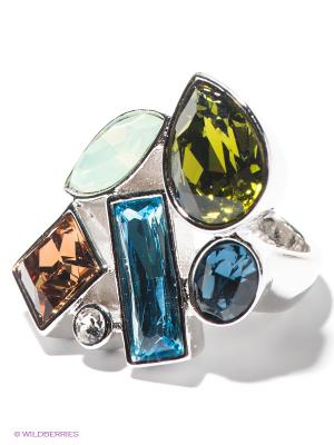 Кольцо Jenavi. Цвет: синий, светло-голубой, светло-зеленый, серебристый