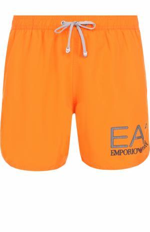 Плавки-шорты с логотипом бренда Emporio Armani. Цвет: оранжевый