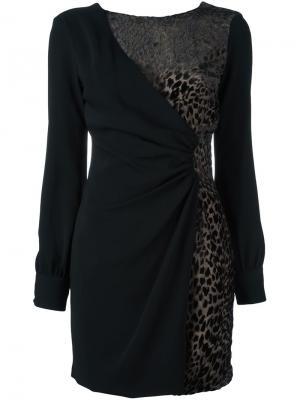 Платье с леопардовым принтом Emanuel Ungaro. Цвет: чёрный