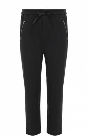 Хлопковые брюки прямого кроя с заниженной линией шага и необработанным краем 3.1 Phillip Lim. Цвет: черный