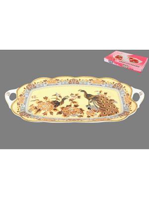Блюдо для нарезки Павлин на бежевом Elan Gallery. Цвет: коричневый, бежевый