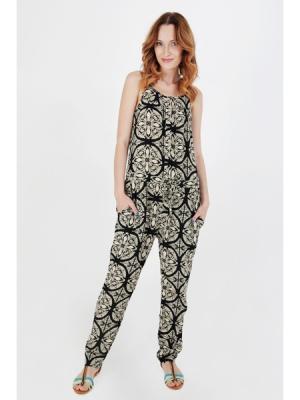 Комбинезон Irene с пижамным принтом черный MONOROOM. Цвет: черный, бежевый