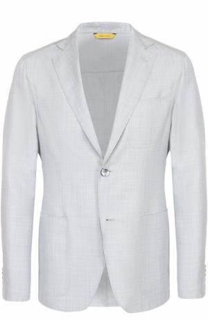 Однобортный пиджак из смеси шерсти и шелка Canali. Цвет: голубой