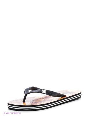 Шлепанцы DC Shoes. Цвет: черный, коричневый, белый