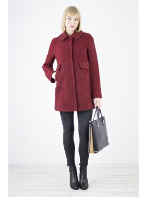 Пальто Elema. Цвет: бордовый