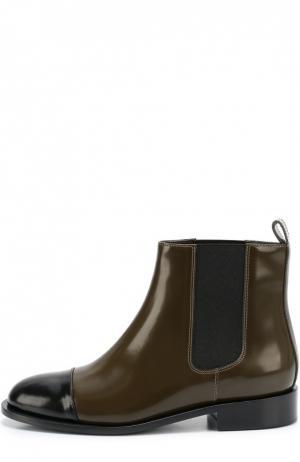 Кожаные ботинки с контрастным мысом Marni. Цвет: хаки