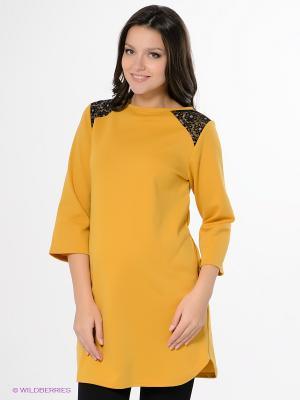 Платье-туника Hunny Mammy. Цвет: светло-желтый