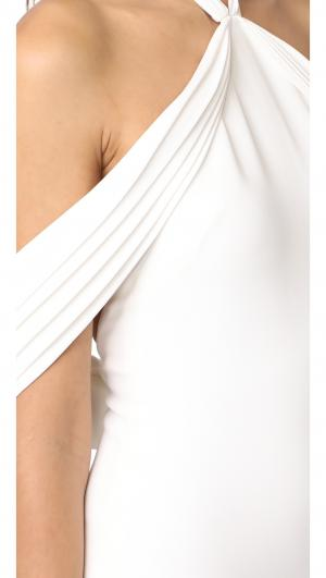 Pleated Draped Shoulder Gown Brandon Maxwell